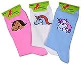 3er Pack Damen Socken mit 3 verschiedenen Einhörner Gr. 39