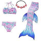 UrbanDesign Traje De Baño Disfraz Cola De Sirena Niña con Bikini para Nadar, 7-8 años, Pez Angel