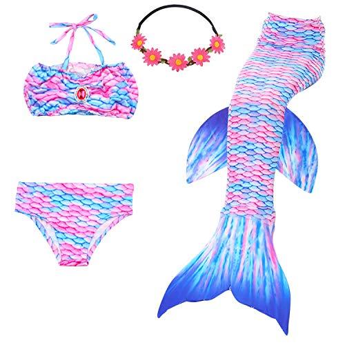 frau Bademode Mädchen Meerjungfrau Badeanzug Schwanzflosse Zum Schwimmen Kostüm Für Kinder, 9-10 Jahre, Engel Fisch ()