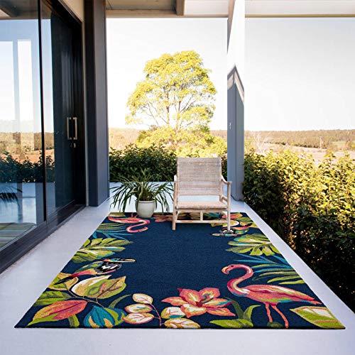 Taleta tropischer Blume Flamingo Handgemachter In- & Outdoor Teppich Grün Schwarz 190x290cm