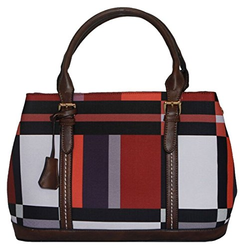 Kukubird Zaida Ecopelle Multicolore Blocco Pattern Design Top-manico Spalla Tote Handbag Red