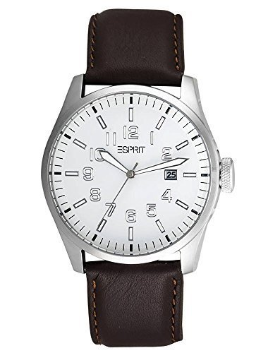 Esprit es103151010 48.25mm Stainless Steel Case Black Calfskin Mineral Men's Watch