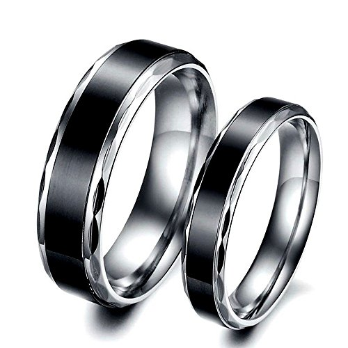 BOBIJOO Jewelry – Alliance Bague Anneau Acier Inoxydable Titane Noir Mariage Fiançaille Couple Au choix