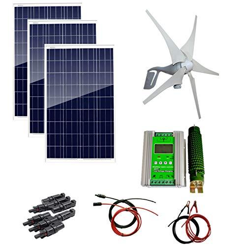 AUECOOR Hybrid-System-Set, 12 V, 700 W, 400 W, Windturbinen-Generator, 3 x 100 W Poly-Solarpanel, Hybrid-Controller und Zubehör für den Heimgebrauch -