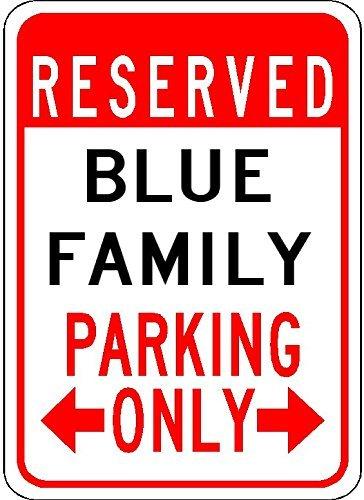 VINMEA Blue Family Parking - personalisierter Nachname - 17,8 x 25,4 cm hochwertiges Aluminiumschild -