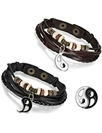Flongo 2 Stück Echtleder Leder Armband Armreif Lederarmband Kordelkette Schwarz Braun Tai Chi Yin und Yang Lieben Valentine Paar Paare Set Herren,Damen