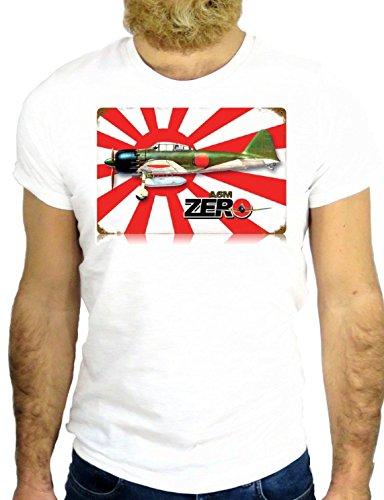 T SHIRT JODE Z2176 COOL VINTAGE JAPAN KAMIKAZE TOKYO USA PEARL HARBOUR GGG24 BIANCA - WHITE