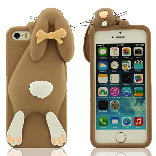 Spécial Mignonne Lapin Apparence Conception iPhone 5S 5C Coque, Étui de Protection iPhone 5 5S 5C 5G, Souple Silicone Protective Case Prime Protection Slap-up style Doux au toucher Anti choc marron