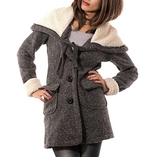 Toocool Damen Mantel Grau