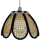 Lighting Web Company - Pantalla de mimbre para lámparas, diseño de tulipán, color azul y crema