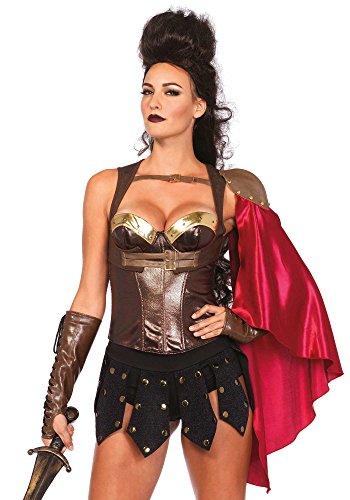 Leg Avenue A2745 - Krieger weste mit Satin Schulter-Umhang - M/L, EUR 38-40, - Viking Kostüm