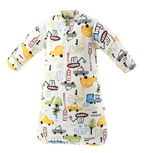 Baby Winter schlafsack Kinder schlafsack 3.5 Tog Schlafsaecke aus Bio Baumwolle Verschiedene Groessen von Geburt bis 4 Jahre alt (L:Höhe 90cm-105cm/24-48Monate, Stadtauto)