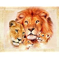 TianMai Hot New DIY 5D Diamond Painting Kit Crystals Diamond Embroidery Rhinestone Painting Pasted Paint by Number Kits Stitch Craft Kit Home Decor Wall Sticker - Lion Family, 25x30cm