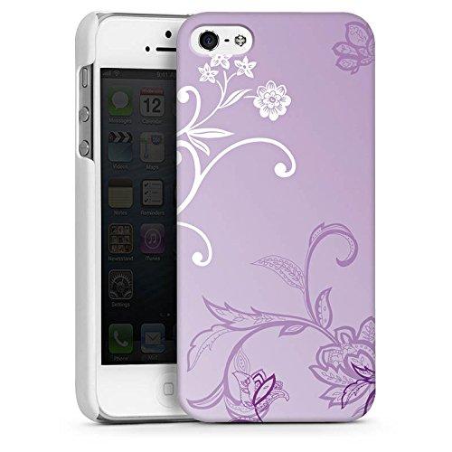 Apple iPhone 5 Housse Étui Silicone Coque Protection Vrilles Fleurs Fleurs CasDur blanc