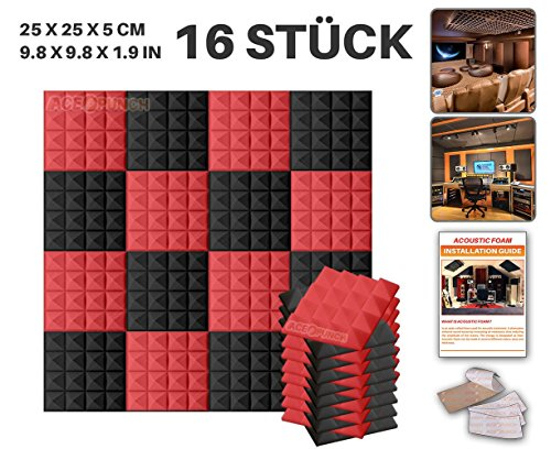 Acepunch 16 Stücke SCHWARZ UND ROT Kombination Pyramide Akustikschaumstoff Schallschutzisolierung Studio Fliesen Mit freien Klebestreifen 25 x 25 x 5 cm AP1034