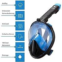 IceFox Tauchmaske, Easybreath Vollgesichtsmaske, faltbare Schnorchelmaske mit 180 Grad Blickfeld, Anti-Beschlag und Anti-Leck, abnehmbare GoPro Halterung, Schwimmmaske-FDA Matrial