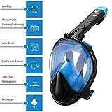 icefox Tauchmaske, Easybreath Vollgesichtsmaske, faltbare Schnorchelmaske mit 180 Grad Blickfeld, Anti-Beschlag und Anti-Leck, abnehmbare GoPro Halterung, Schwimmmaske--FDA Matrial (BLAU / SCHWARZ, L / XL)