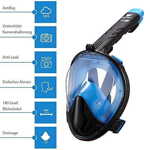 icefox Unisex-Adult Tauchmaske, Easybreath Vollgesichtsmaske, Faltbare Schnorchelmaske mit 180 Grad Blickfeld, Beschlag und Anti-Leck, Schwimmmaske (L/XL), BLAU/SCHWARZ