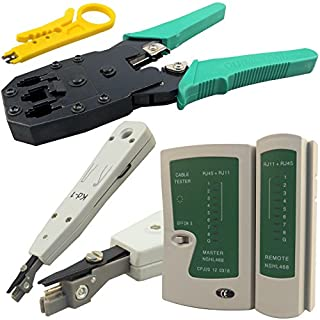 Safekom RJ45 Crimping Tool Cable Tester Punch Down Tool RJ45 RJ11 RJ12 Cat5 Cat5e Cat6 Ca6e Cat7 Crimping Crimper Wire Stripper Stripping Cutter Tools Kit Networking Ethernet Internet Telephone Cables