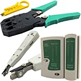 Pluscom Tester per cavi RJ11 eRJ45, kit di attrezzo con crimpatore, unità di strippaggio, punzone, cacciavite, connettore e baule NKIT4