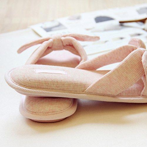 Fortuning's JDS Femmes filles dames arc coton maison pantoufles matelassés tongs forme plate Sandales à bout ouvert Rose