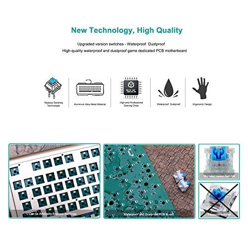 E Element Z-77 87 Tasten Wasserdicht Und Staubdicht Mechanische Gaming-tastatur Mit Blauen Schalter - Austauschbare Schalter (Schwarz)