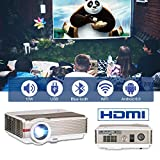 HD Video Projector 1080P 4200 Lumen Wxga Home Cinema LED LCD Projector Outdoor Movie Gaming HDMI USB Smartphone Beamer for TV DVD Xbox Blu Ray (5000 Lumen/Android Bluetooth Projector)