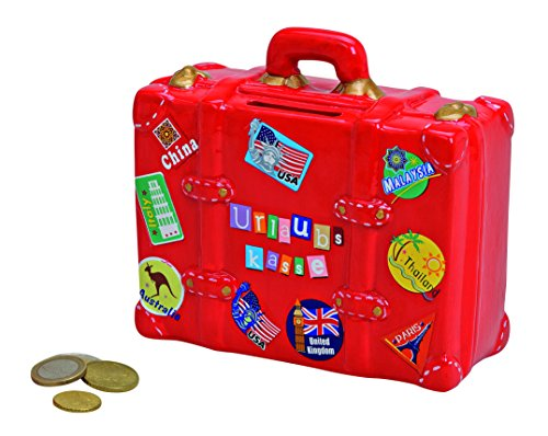 Wurm KG Spardose,Sparbüchse Reisekoffer, Reisekasse,Urlaubskasse Koffer mit Urlaubstickern aus Keramik mit Schloß