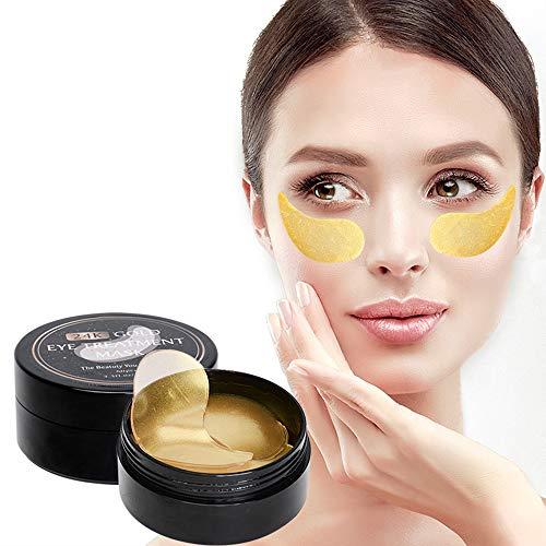 Beileer Eye Mask Augenpads Anti Aging Pads Collagen Maske Augenpflege mit Hyaluron Entfernen Taschen Dunkle Kreise Puffiness 60 pcs/box (Gold) (Boxen-pads)