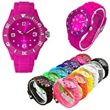 SVS Mini Face Silikon Uhr Watch Quartz Analog Damen Herren Kinder Unisex Trend Mode Sport Armbanduhr Farbig Bunt (Mini Face, Pink)