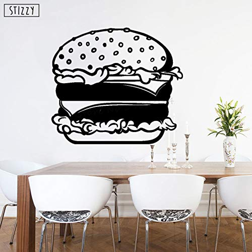 Fastfood Hamburger Wandaufkleber Interieur Küche Wohnkultur Fenster Kreatives Essen Muster Kunstwand Poster 47 * 42 cm ()