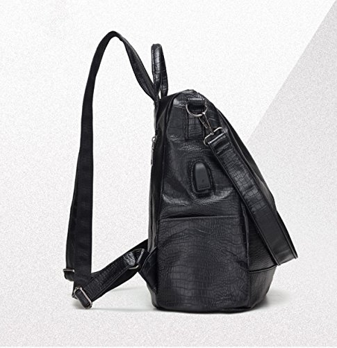 Damen PU Umhängetasche Handtaschen Casual Reißverschluss Rucksack Handtasche Black