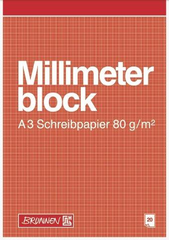 Mm Block (Millimeterblock / Schreibpapier (20 Blatt / Din A3 - 80 g (29,7 x 42 cm)))
