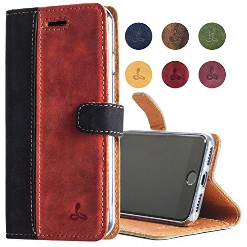 Snakehive iPhone 8 Handy Schutzhülle/Klapphülle echt Lederhülle mit Standfunktion, Handmade in Europa für Apple iPhone 8 - (Schwarz und Rot) -