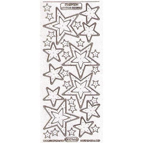 Pegatinas estrellas transparente, dorado