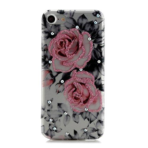 Arktis iPhone 8 / 7 Luxus Soft Tpu Silikon Case Schutzhülle Hülle Strass Strassteine Unicorn Dream Einhorn Einhörner Rose's
