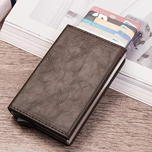 YDFGG Brieftasche Portemonnaie Herren Vintage Pu Leder Pop Up Portemonnaie Klein Metall Trifold Wallet Geldbeutel, Kaffee -