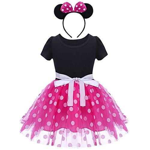 Kinder Baby Mädchen Geburtstags party Outfit Kurzarm Polka Dots Karneval partykleid Ballett Tutu Kleid mit Stirnband Prinzessin Cosplay Kostüm Festliche Party Verkleidung Abendkleid Hot Pink 5 J