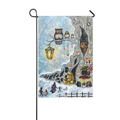 interestprint Winter Schnee Eule auf Baum branhces Lange Polyester Garten Flagge Banner 30,5 x 45,7 cm, Igel Eichhörnchen Fahne Deko Tier für Hochzeitstag/für Home Outdoor Garden Decor