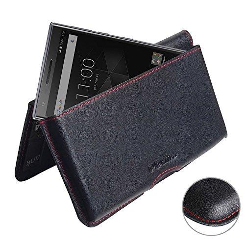 PDAir Blackberry Motion Leder Brieftasche Folio Handy Hülle (Rote Nähte), Brieftasche Echtleder, Klapphülle Flip Hülle Etui, Luxus Prämie Brieftasche Tasche für Blackberry Motion