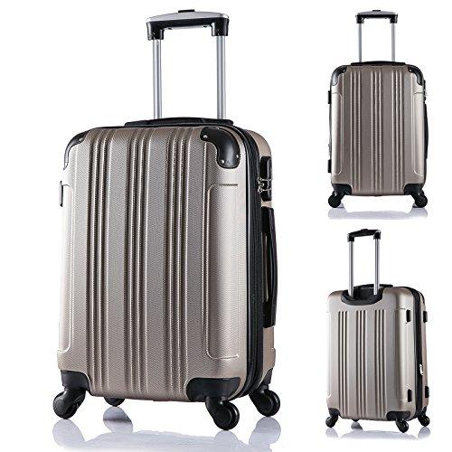 WOLTU RK4205ch Reise Koffer Trolley Hartschale mit erweiterbare Volumen , Reisekoffer Hartschalenkoffer 4 Rollen , M / L / XL / Set , leicht und günstig , Champagne (M, 56 cm & 42 Liter) - 2