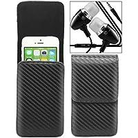 Pochettes ceintures vertical Samsung Galaxy A5 2016 – Housse pour pochette ceinture en Fibre de carbone pour téléphone mobile avec solide boucle de clip intégrée Avec des écouteurs métalliques munis d'une prise de 3, 5 mm ( Carbon Fiber ) - LOLO®