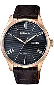 CITIZEN Mens Mechanical Watch, Analog Display and Leather Strap - NH8353-00H