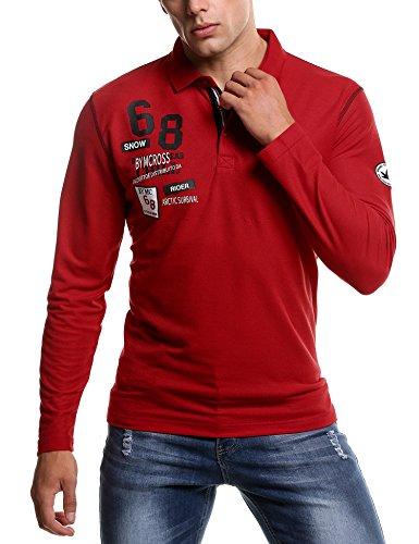 Coofandy Herren Poloshirt Langarm Polo Kragen mit Stickerei Casual Meliert Regular Fit Freizeit Party Polohemd für Männer