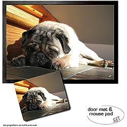 Set: 1 Felpudo Alfombrilla (70x50 cm) + 1 Alfombrilla Para Ratón (23x19 cm) - Perros, Carlino Yoga