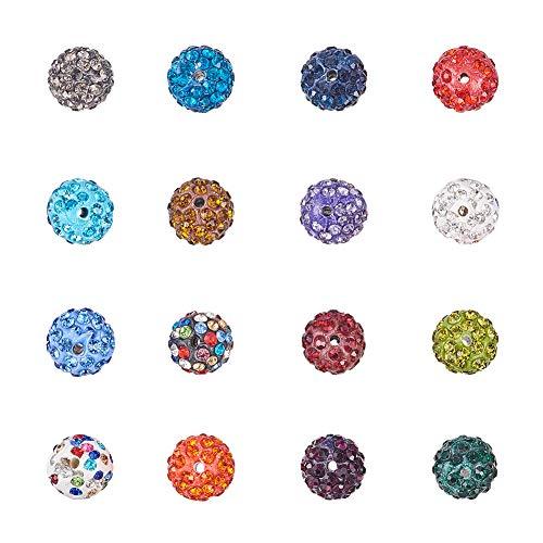olymer-Lehm pflastern Rhinestone-Disco-Disco-Kugel-Korn-Charme Shamballa, Mischfarbe, Loch: 1.5mm ()