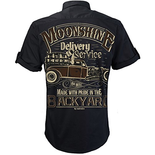 ROAD RODEO Worker Shirt, Hemd, Rock'n'Roll, XXX, Schnaps, Moonshine Delivery
