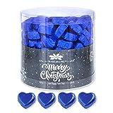 Günthart 150 Stück blau Schokoladen Herzen mit Nougatfüllung | Nougatcreme Granit | Schokoladenherzen blau Merry Christmas | Give away | blaue Herzen aus Schokolade | Weihnachten (1,2 kg)