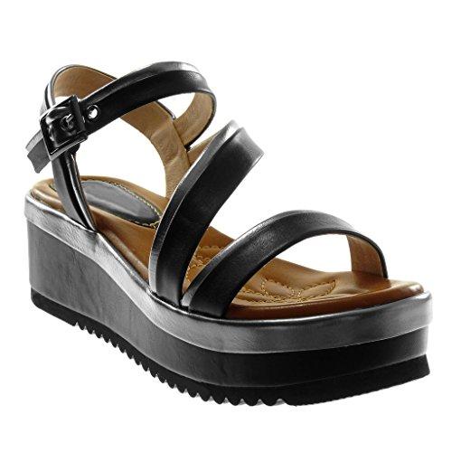 Scarpa 6 Nero Angkorly Piattaforma Sandalo Zeppa Cm Caviglia Pistone Donna Bicolore Cinghia Cinghia Metallico Polivalente Moda 5SOOwaqZ