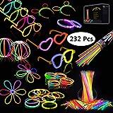 Josechan Glow Sticks, 232 PCS 8'' Bagliore colorato bastoni Bulk e connettori per Collana Bagliore, Palle di Fiori, Bicchieri Luminosi e Triple/Farfalla di bracciali (232 pcs)